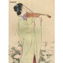 Kaburagi Kiyokata: Woman playing violin - Asian Collection Internet Auction
