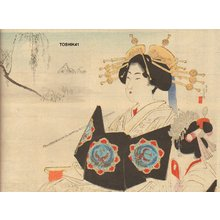 Mizuno Toshikata: Courtesan and attendant - Asian Collection Internet Auction