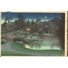 Ono, Bakufu: Tea house and full moon - Asian Collection Internet Auction