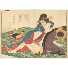Yanagawa Shigenobu: Cortesan and client on FUTON - Asian Collection Internet Auction