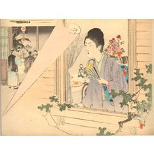 Mizuno Toshikata: BIJIN (beauty) in window - Asian Collection Internet Auction