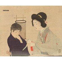 富岡英泉: Tipsy BIJIN (beauty) offers boy sake - Asian Collection Internet Auction