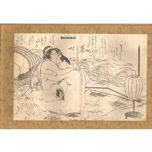Katsukawa Shunsho: Couple by sea screen with CHIDORI (plovers) - Asian Collection Internet Auction