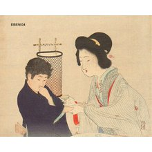 富岡英泉: Mother and son - Asian Collection Internet Auction