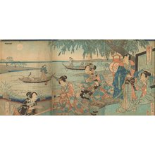 歌川房種: Genji and ladies in waiting - Asian Collection Internet Auction