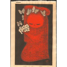 Kawano Kaoru: Girl with butterflies and flowers - Asian Collection Internet Auction