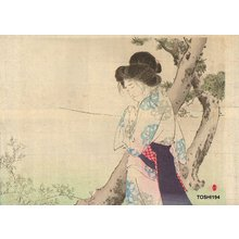 水野年方: Beauty weeping by pine - Asian Collection Internet Auction
